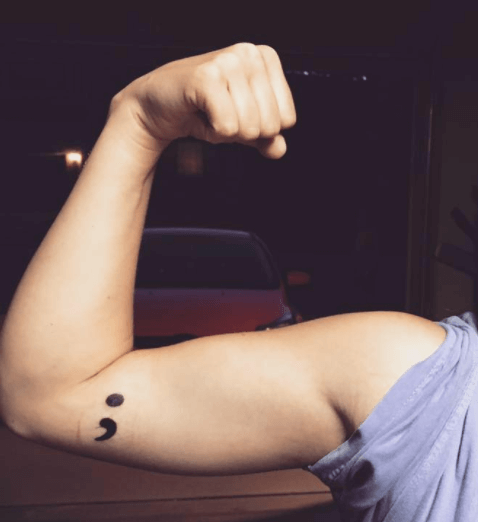 67b21e999a529 In writing, the semicolon represents a place where the author could have  chosen to end the sentence but instead opted to continue. As a tattoo,  however, ...